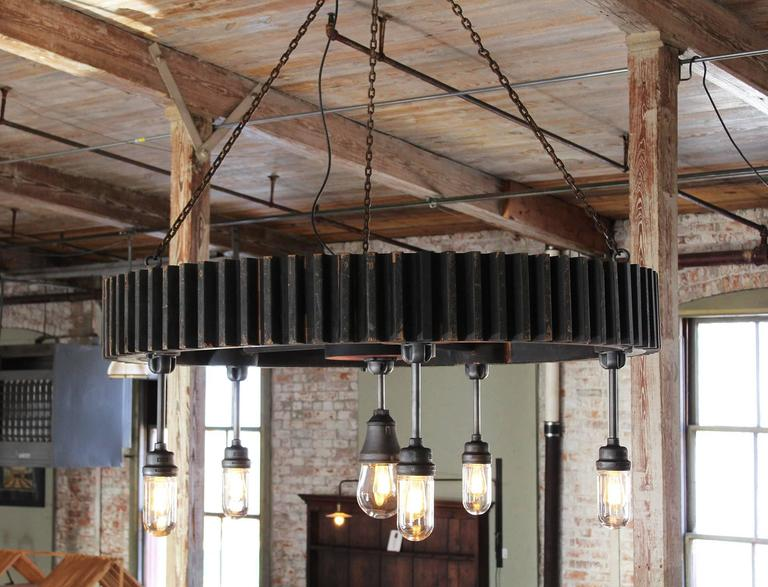 Bespoke Chandelier - Industrial Wooden Gear Pattern & Explosion Proof Lights For Sale 2