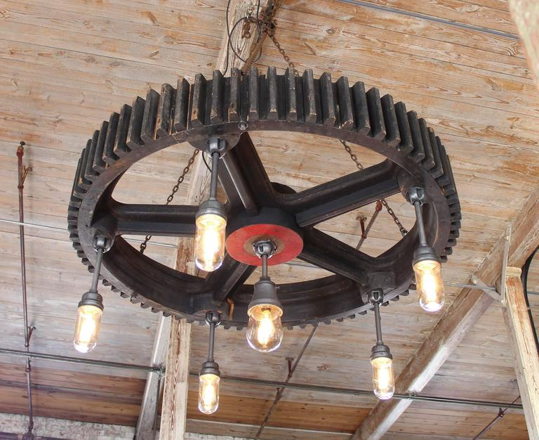 Bespoke Chandelier - Industrial Wooden Gear Pattern & Explosion Proof Lights In Distressed Condition For Sale In Oakville, CT