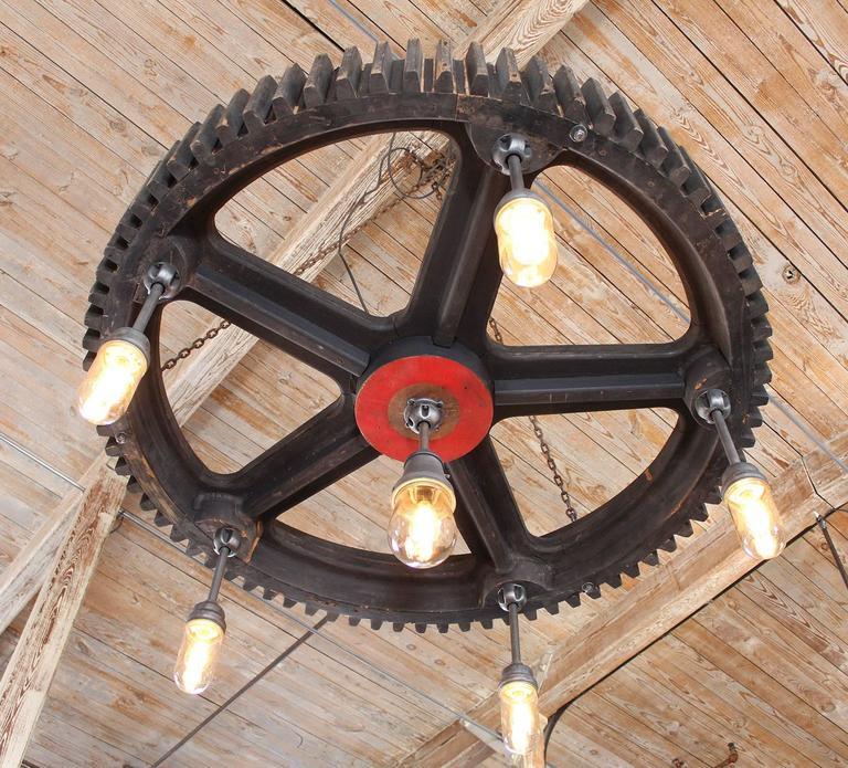 Contemporary Bespoke Chandelier - Industrial Wooden Gear Pattern & Explosion Proof Lights For Sale