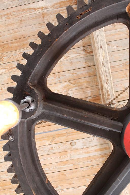 Metal Bespoke Chandelier - Industrial Wooden Gear Pattern & Explosion Proof Lights For Sale
