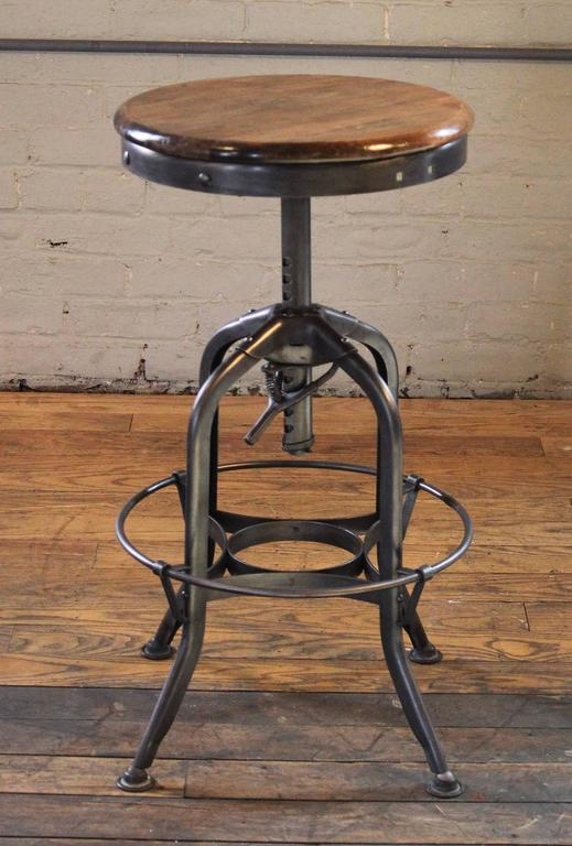 Sensational Vintage Industrial Wood And Steel Counter Island Adjustable Squirreltailoven Fun Painted Chair Ideas Images Squirreltailovenorg