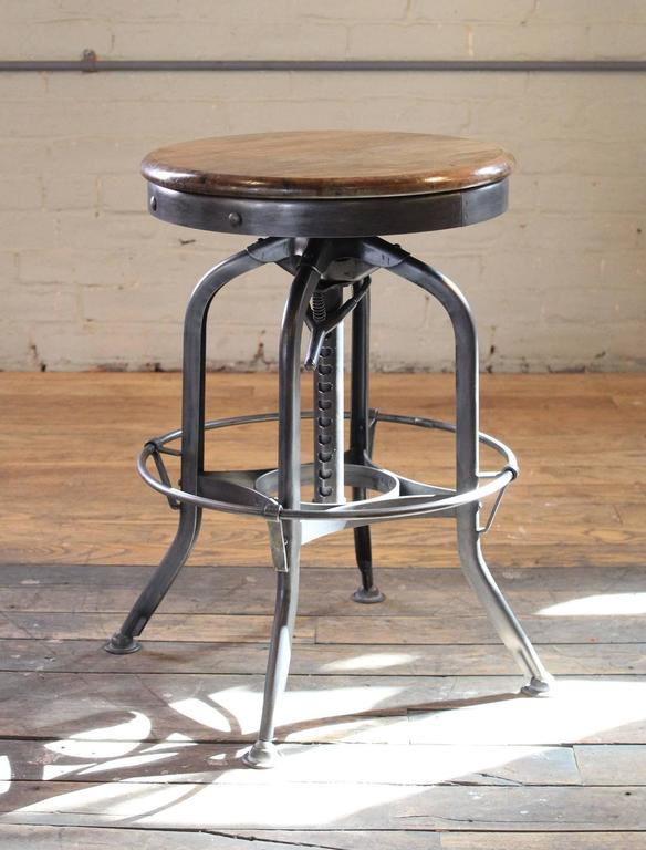 Charmant American Vintage Industrial Wood And Steel Counter Island Adjustable Bar  Stool For Sale