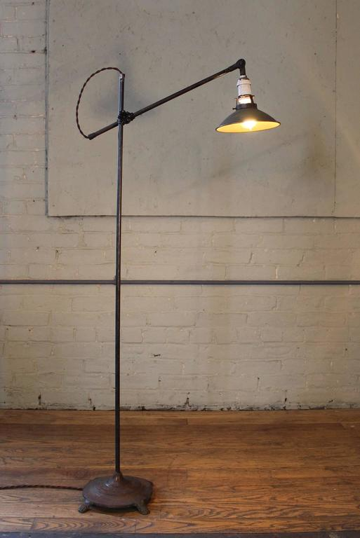 Steampunk Floor Lamp, Light Vintage Shop Iron Steel Adjustable Reading Task with Claw Foot For Sale