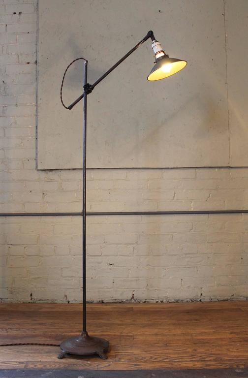 20th Century Floor Lamp, Light Vintage Shop Iron Steel Adjustable Reading Task with Claw Foot For Sale