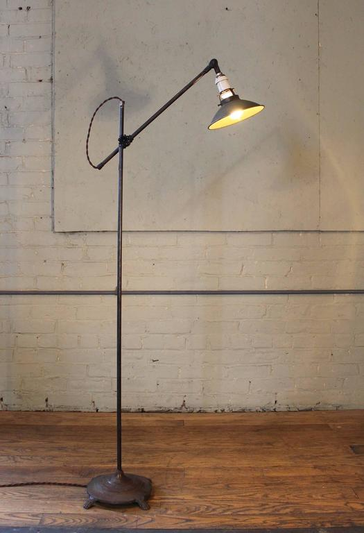 Floor Lamp, Light Vintage Shop Iron Steel Adjustable Reading Task with Claw Foot For Sale 1