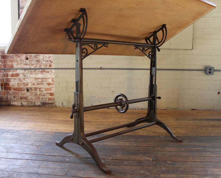 Drafting Table Antique  Ornate Vintage Industrial Tilt-Top Cast Iron and Wood For Sale 2