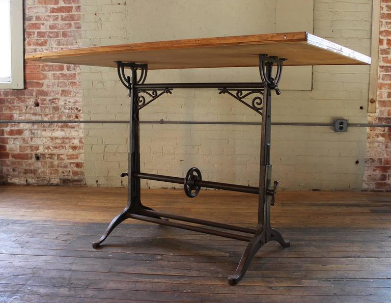 20th Century Drafting Table Antique  Ornate Vintage Industrial Tilt-Top Cast Iron and Wood For Sale