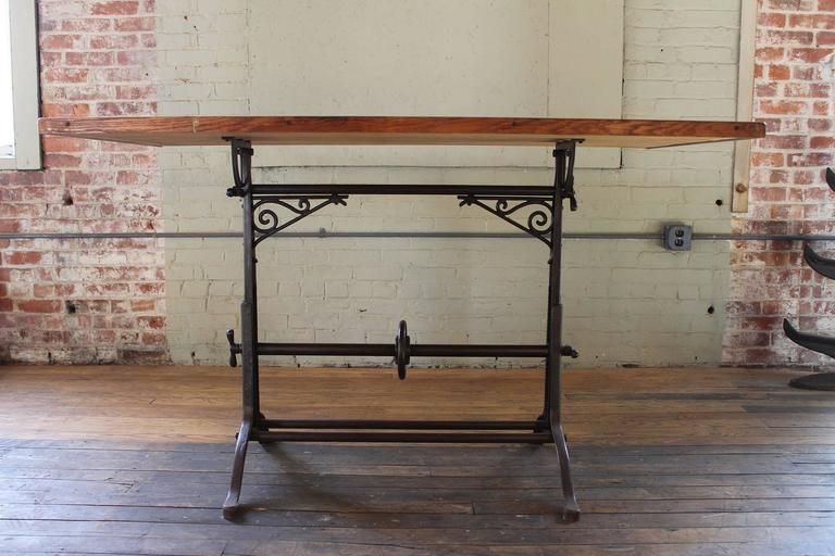 Drafting Table Antique  Ornate Vintage Industrial Tilt-Top Cast Iron and Wood For Sale 1