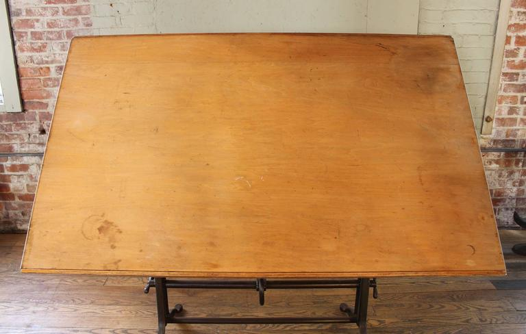 Drafting Table Antique  Ornate Vintage Industrial Tilt-Top Cast Iron and Wood For Sale 3