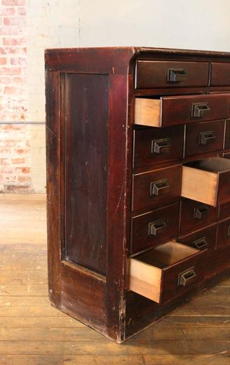 Apothecary Cabinet Vintage Wood Hardware Multi Drawer Storage Counter For At 1stdibs