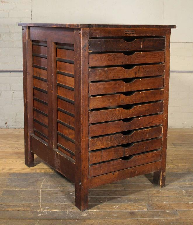 Authentic Hamilton Flat File Cabinet Wooden Multi Drawer