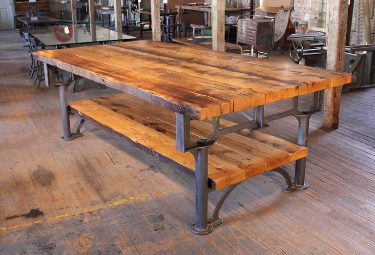 Kitchen Island, Table Industrial Cast Iron Reclaimed Wood Plank Conference 6
