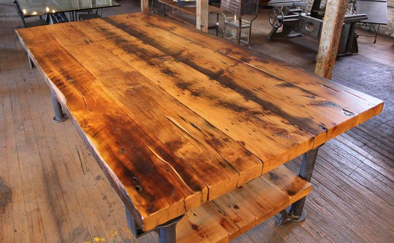 Kitchen Island, Table Industrial Cast Iron Reclaimed Wood Plank Conference 2