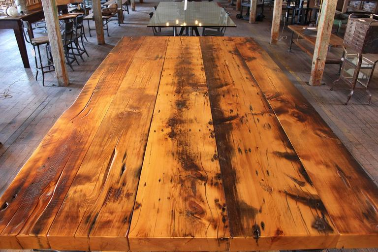 Kitchen Island, Table Industrial Cast Iron Reclaimed Wood Plank Conference 5