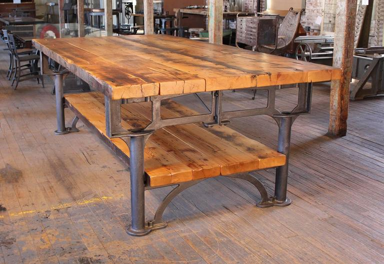 Kitchen Island, Table Industrial Cast Iron Reclaimed Wood Plank Conference 10