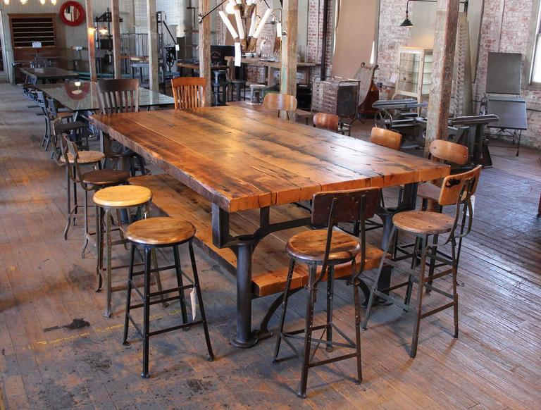 Industrial Reclaimed Wood Harvest Kitchen Island Great Table For Sale At 1stdibs