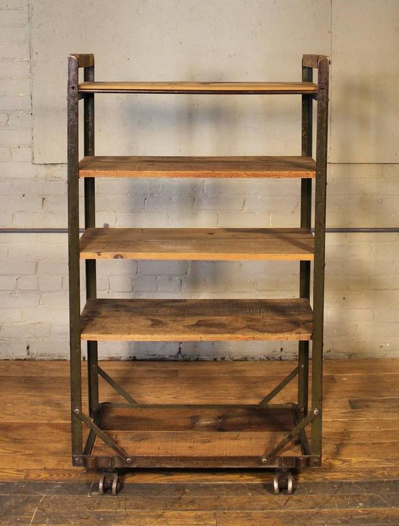 Rolling Shoe Cart, Rustic Wood And Steel Storage Rack For Sale 3