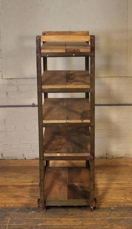 Rolling Shoe Cart Rustic Wood And Steel Storage Rack At