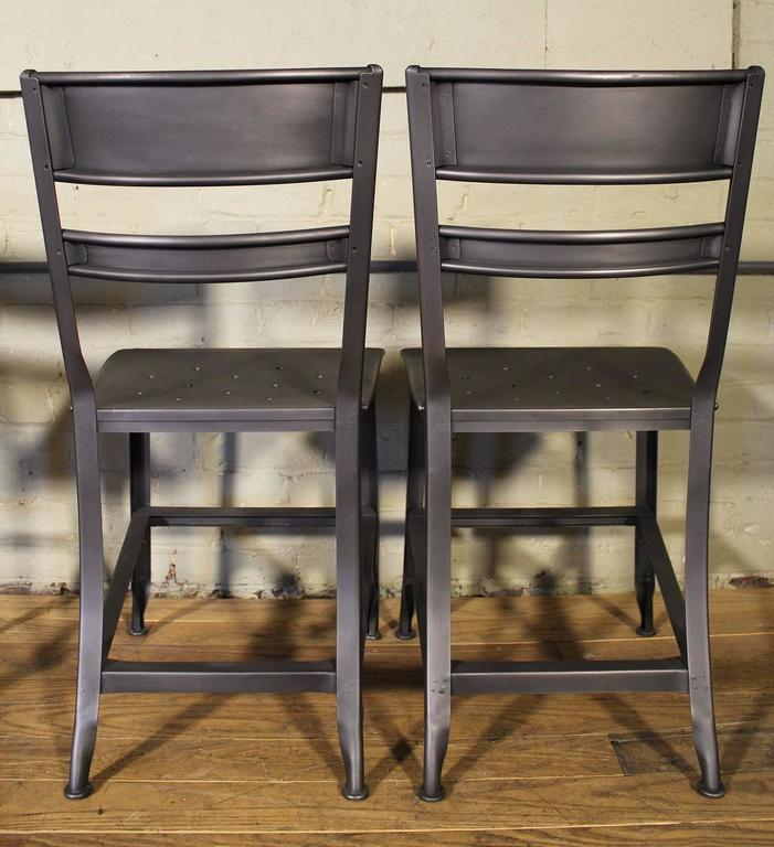 Metal Vintage Toledo Steel Side Chairs Set of Four Refinished Modern Dining For Sale
