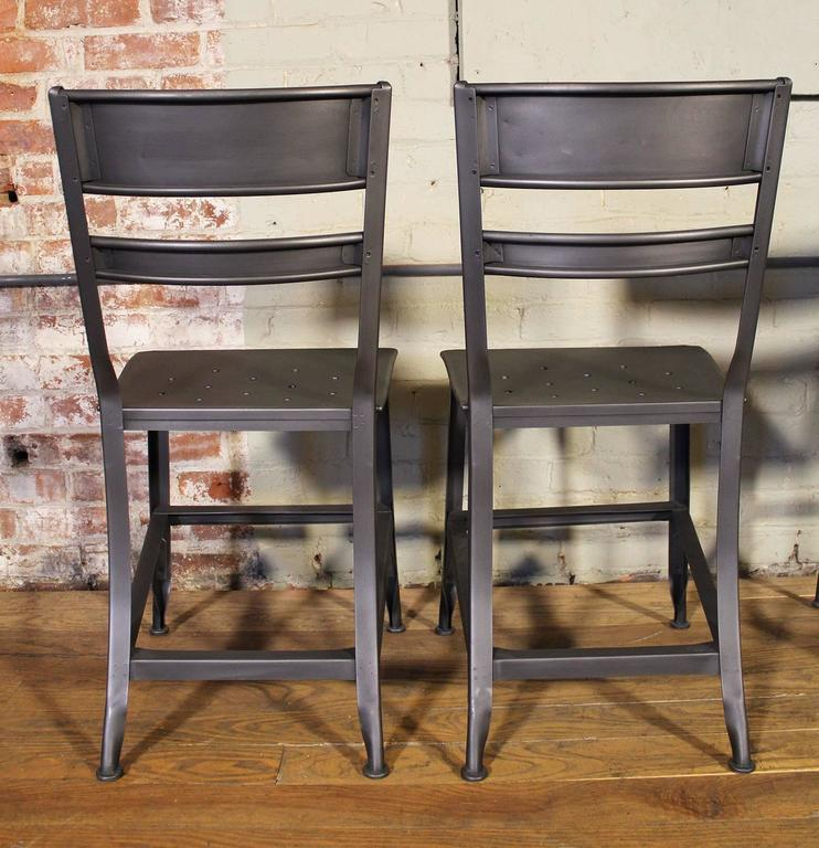 Vintage Toledo Steel Side Chairs Set of Four Refinished Modern Dining For Sale 1
