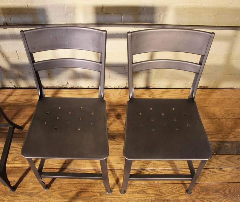 Vintage Toledo Steel Side Chairs Set of Four Refinished Modern Dining For Sale 2