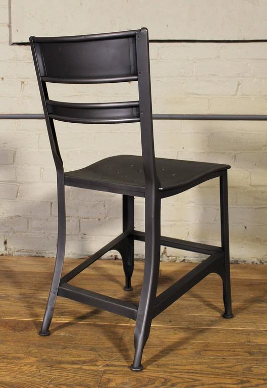 American Vintage Toledo Steel Side Chairs Set of Four Refinished Modern Dining For Sale