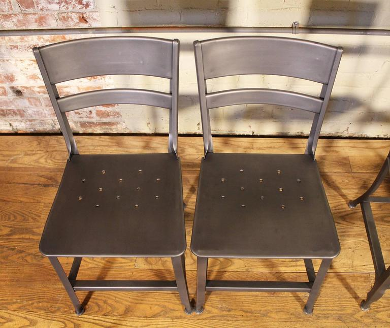 Vintage Toledo Steel Side Chairs Set of Four Refinished Modern Dining For Sale 3