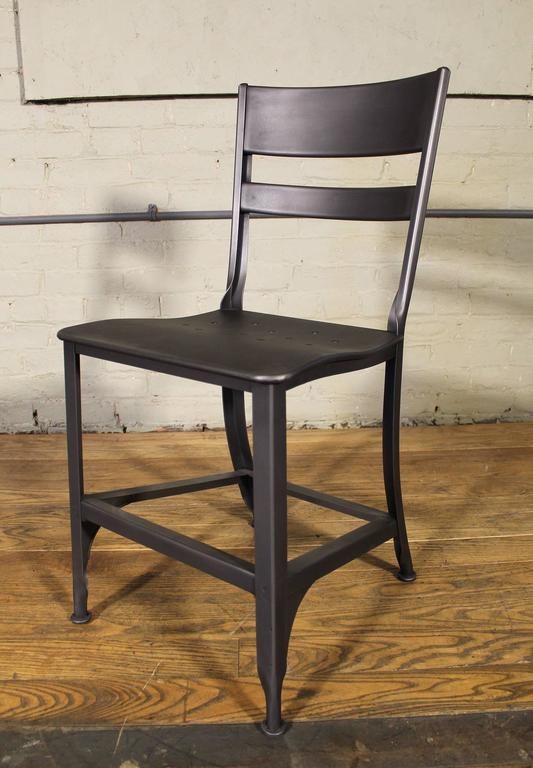 Mid-Century Modern Vintage Toledo Steel Side Chairs Set of Four Refinished Modern Dining For Sale