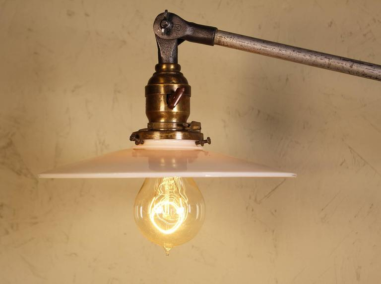 20th Century Pair of Vintage Industrial Milk Glass O.C. White Wall Task Lamps, Lights Edison