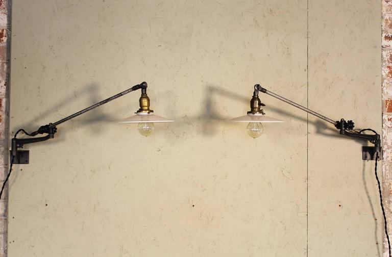American Pair of Vintage Industrial Milk Glass O.C. White Wall Task Lamps, Lights Edison