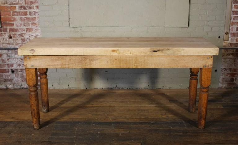 Vintage Wooden Turned Leg Large Butcher Block Tall Table