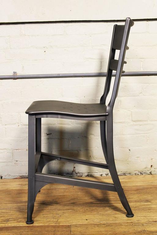 American Dining Chair, Seat Vintage Industrial Mid Century Modern Steel / Metal Toledo  For Sale