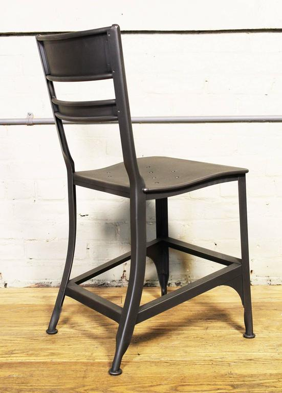 Vintage Industrial steel / metal Toledo dining chair, factory, machine shop style seat. Refinished in gunmetal. Multiples are available.