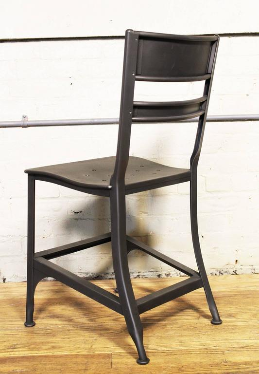 Dining Chair, Seat Vintage Industrial Mid Century Modern Steel / Metal Toledo  In Excellent Condition For Sale In Oakville, CT