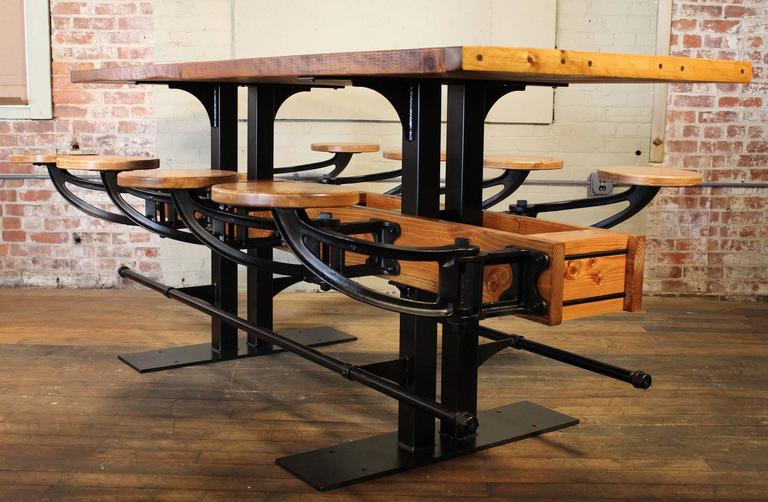 Cast Communal Pub Height & Restaurant Dining Table For Sale