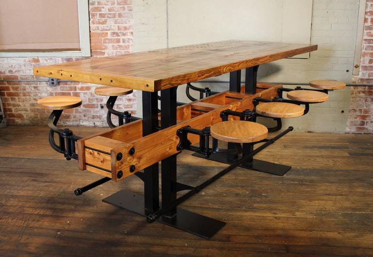 Industrial Communal Pub Height & Restaurant Dining Table For Sale