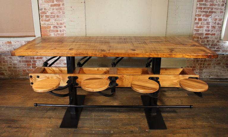 Iron Communal Pub Height & Restaurant Dining Table For Sale