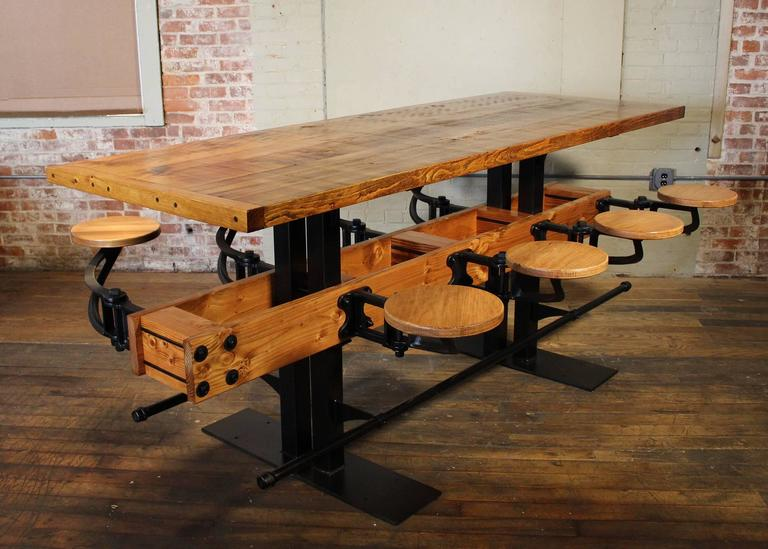 American Communal Pub Height & Restaurant Dining Table For Sale