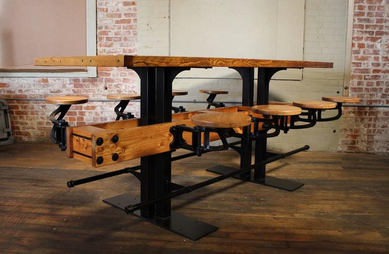 Pub table swing out seat bar vintage industrial wood and steel kitchen island for sale at 1stdibs - Industrial kitchen island for sale ...