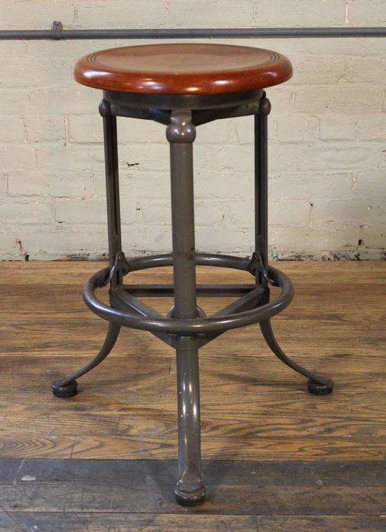 Backless Bar Stool Wood And Metal Adjustable Vintage