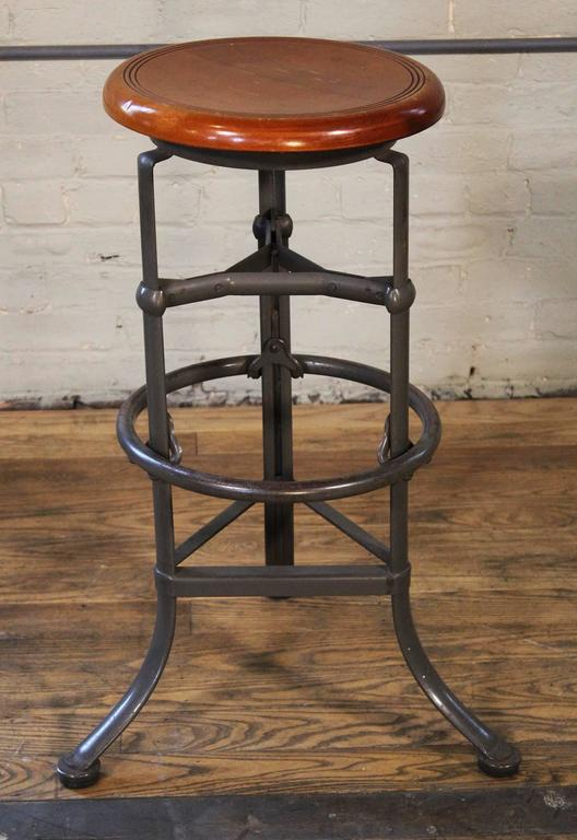 20th Century Backless Bar Stool Wood And Metal Adjustable Vintage Industrial  Bar Shop For Sale