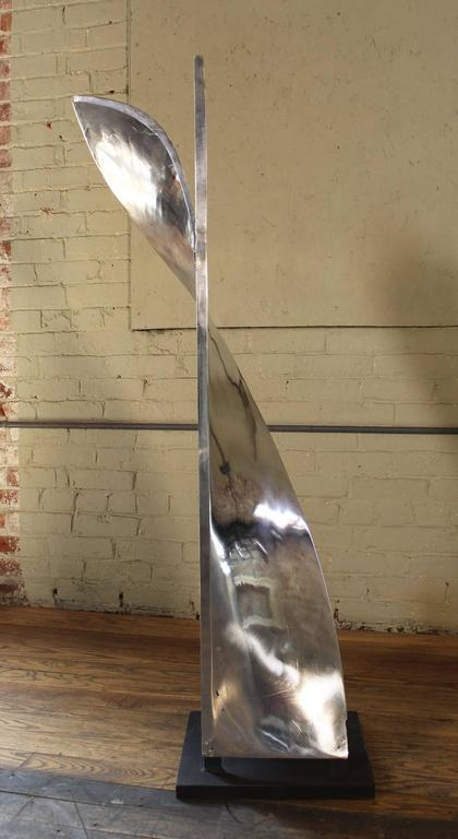 "Aluminum Paper Mixing Blade Sculpture Model 1. Complete set of three available. Aluminum on steel base. Measures: 52"" in height, 19"" in width, 14"" in depth. Base is 14"" x 14""."