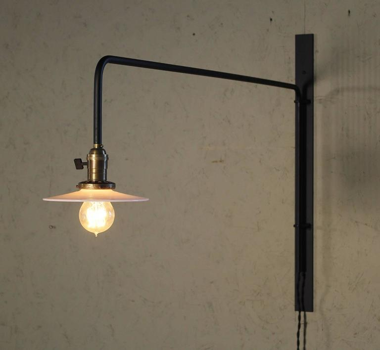 American Wall Sconce Lamp Light Swing Out Steel Milk Glass Shade with Edison Bulb For Sale