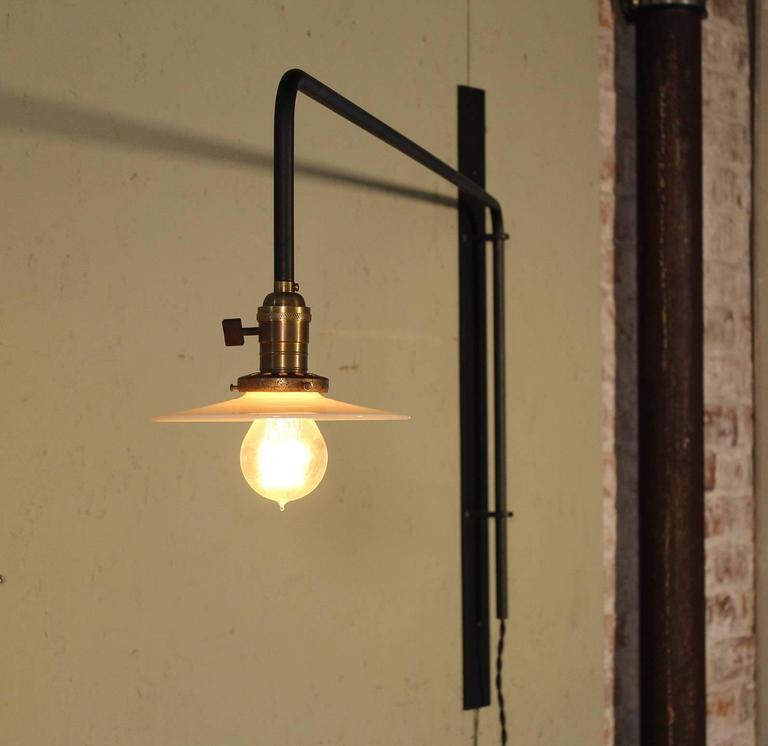 Mid-Century Modern Wall Sconce Lamp Light Swing Out Steel Milk Glass Shade with Edison Bulb For Sale