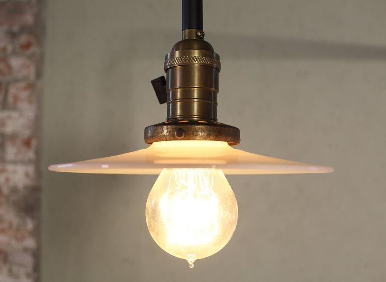 Wall Sconce Lamp Light Swing Out Steel Milk Glass Shade with Edison Bulb In Excellent Condition For Sale In Oakville, CT