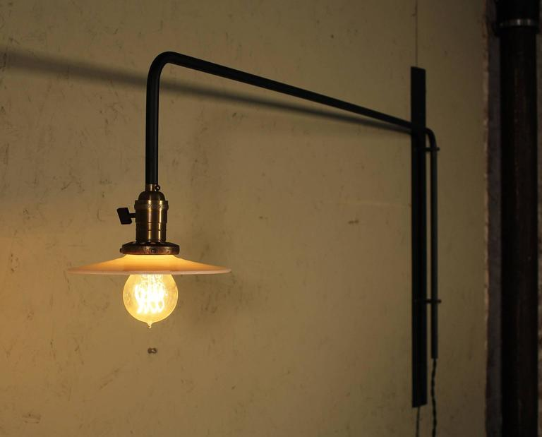 20th Century Wall Sconce Lamp Light Swing Out Steel Milk Glass Shade with Edison Bulb For Sale