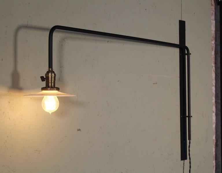Wall Sconce Lamp Light Swing Out Steel Milk Glass Shade with Edison Bulb For Sale 3