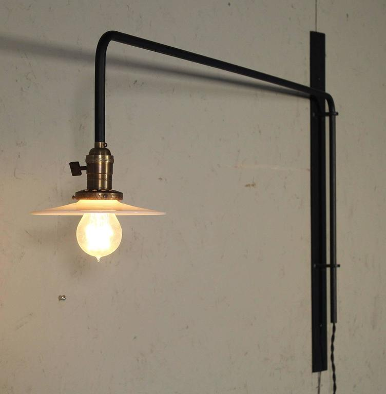 Wall Sconce Lamp Light Swing Out Steel Milk Glass Shade with Edison Bulb For Sale 1