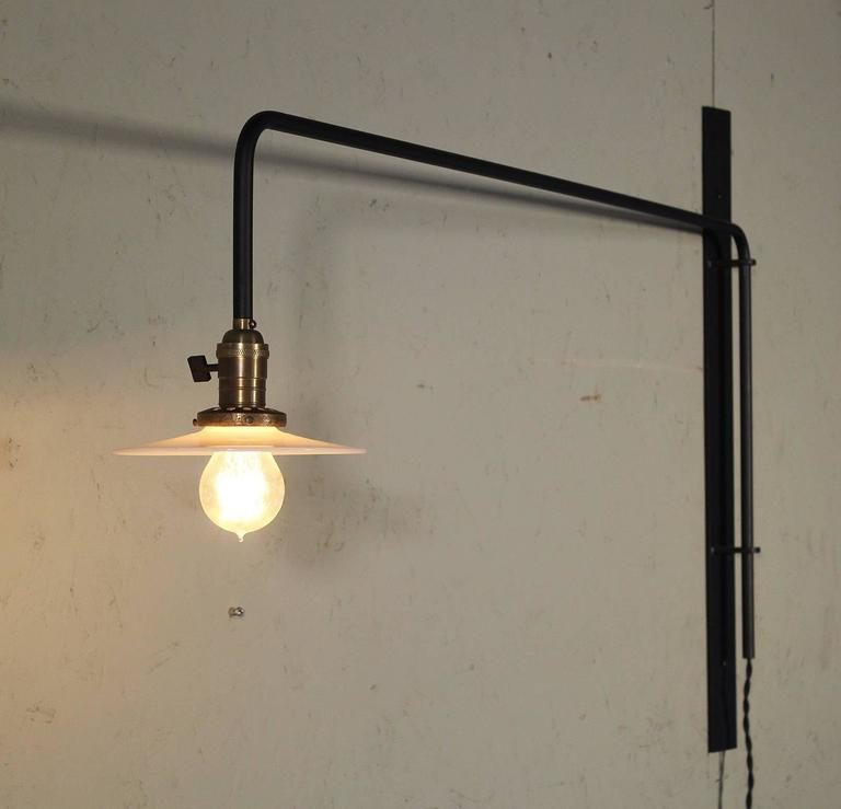 Wall Sconce Lamp Light Swing Out Steel Milk Glass Shade with Edison Bulb For Sale 2