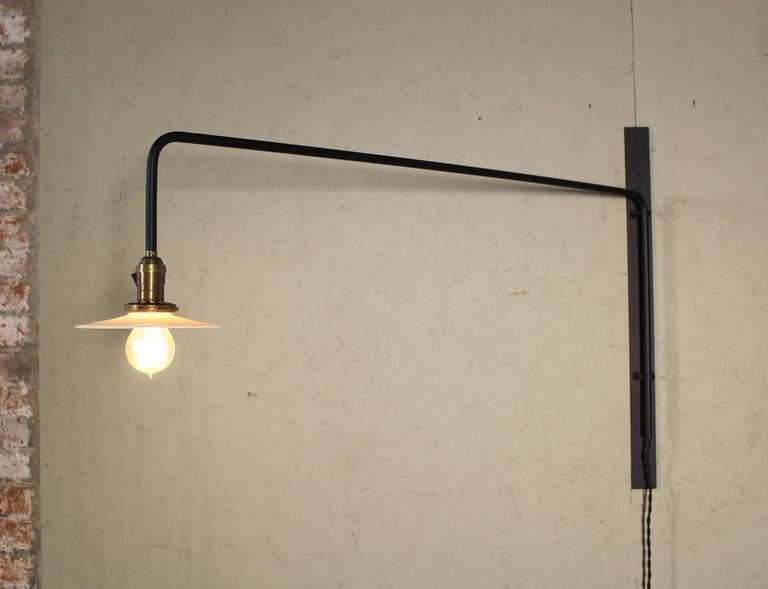 Wall Sconce Lamp Light Swing Out Steel Milk Glass Shade with Edison Bulb For Sale 4